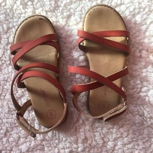 Cat & Jack girl strappy sandals faux leather Sz 9